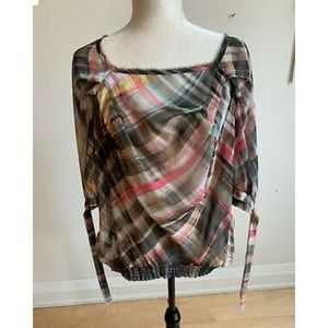 Ted Baker Sheer Plaid Blouse